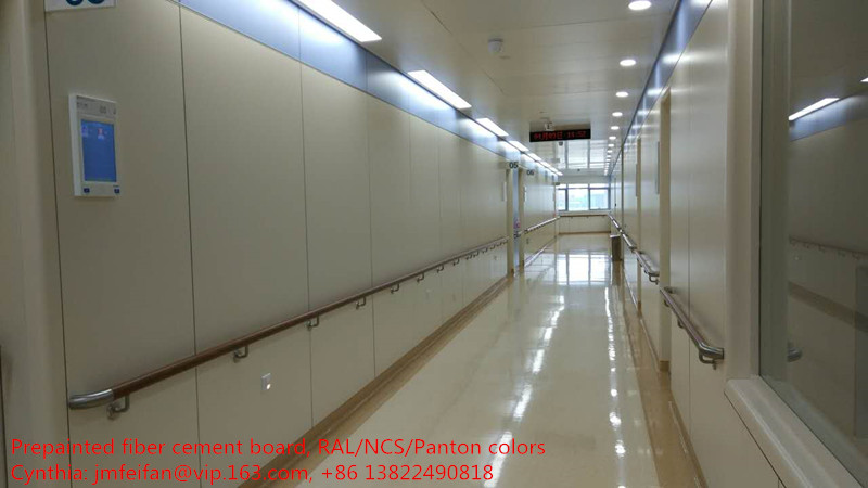 Solid fiber cement board for hospital corridor wall systems