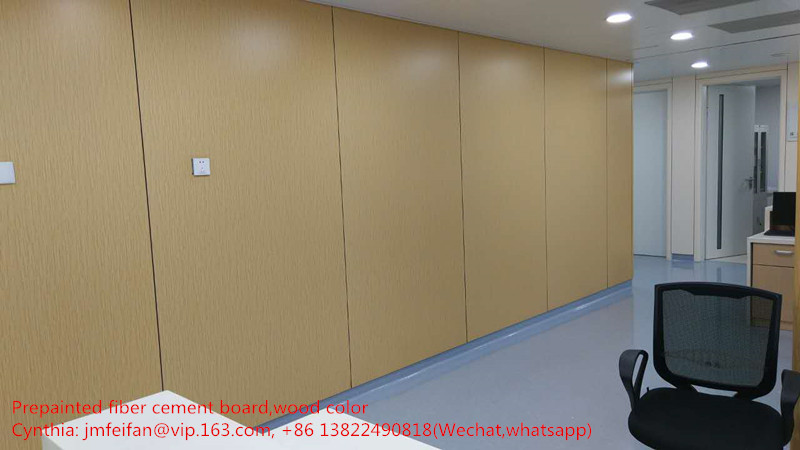 Wood grain fiber cement board for cleanroom