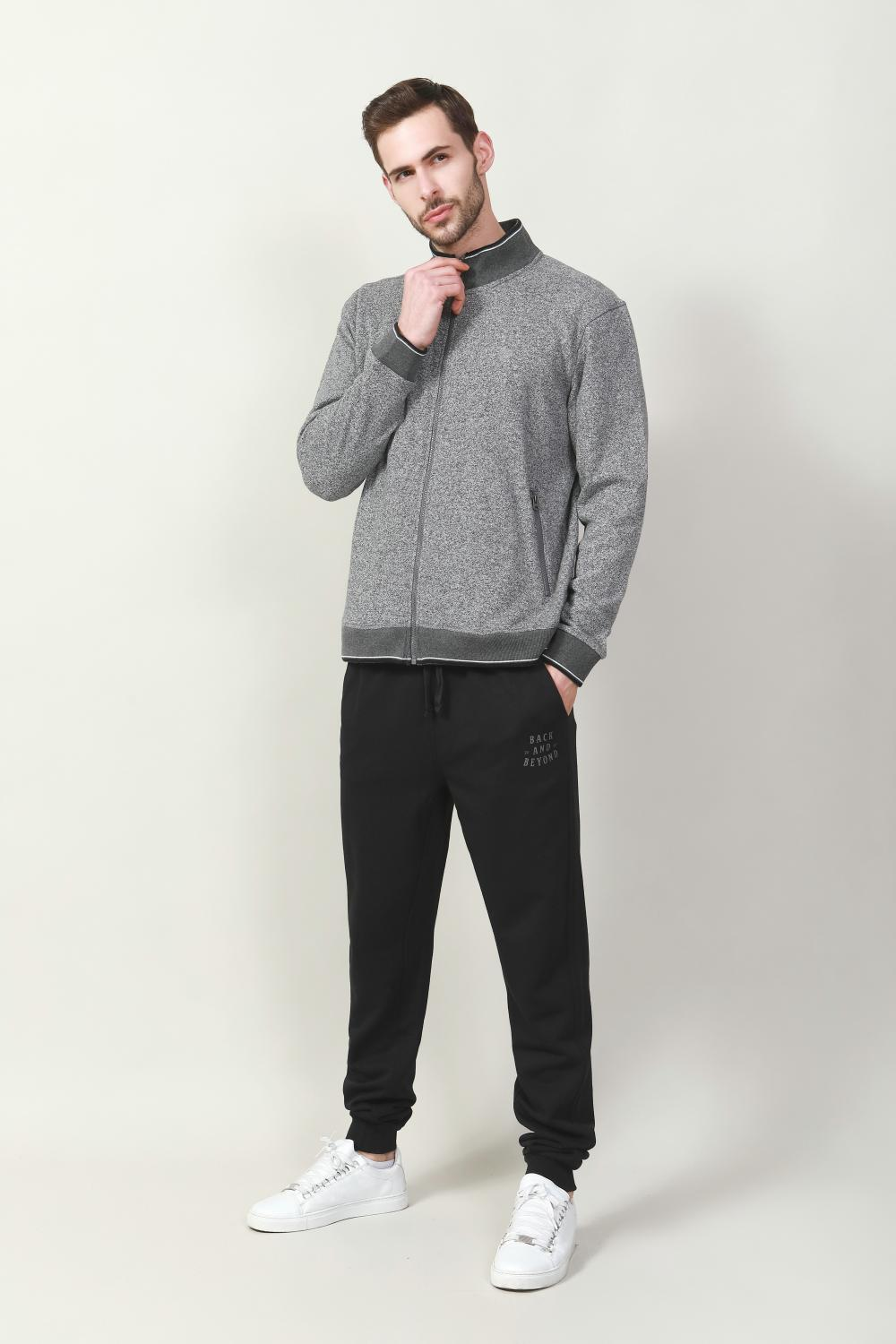 BLACK BRUSHED FLEECE TRACKPANT