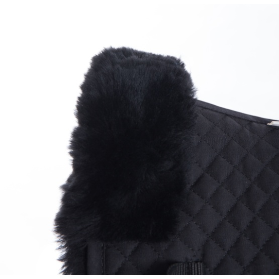 High Quality Black Quilting Sheepskin Saddle Pad