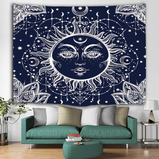 Sun Face Tapestry Wall Hanging Bohemian Boho Indian Hippie Mandala Wall Tapestry Psychedelic Mystic for Livingroom Bedroom Dorm