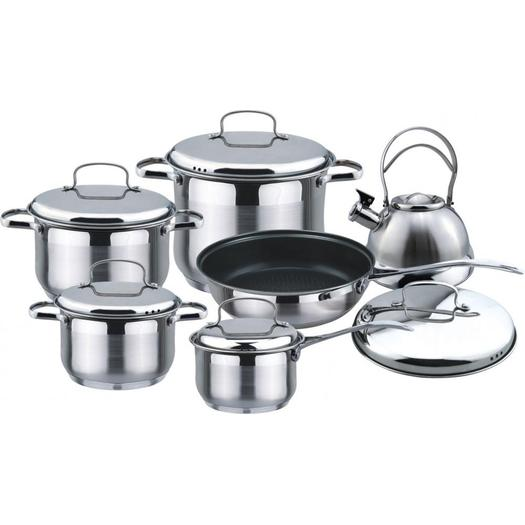 11pcs Cookware set with whistling kettle