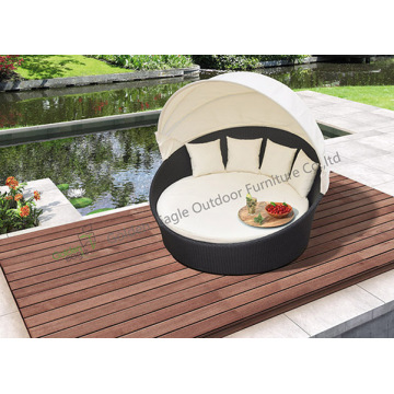 Outdoor Garden Wicker Bed Round Sunbed with Canopy