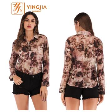 Fashion Women Printed Chiffon Single-breasted Blouse Shirts