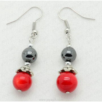 Red Coral 8MM Round Beads hematite earring