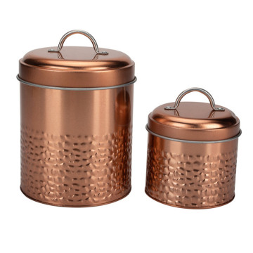 Copper Embossed Round Canister
