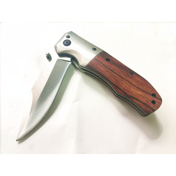 Fast Open Camping Wood Handle Pocket Knife