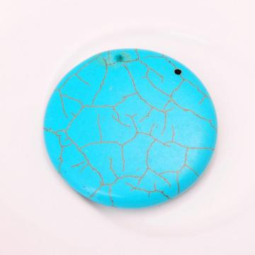 Turquoise Coin Gemstone Jewelry Necklace Pendant 40MM