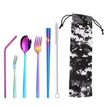 Straw Spoon Fork Knife Chopsticks Cutlery Set Flatware