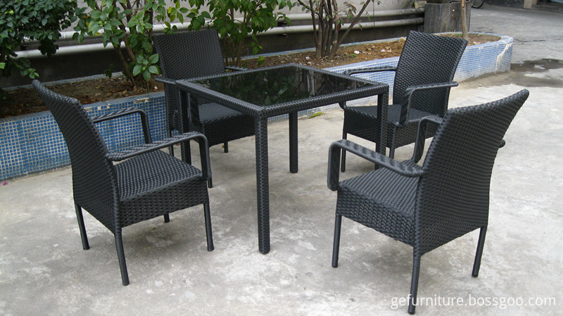 Black Rattan Square Dining Set