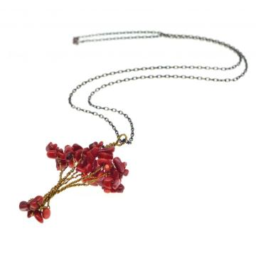 Natural Chip Semi Precious Stone Beads Life of Tree Pendant Necklace