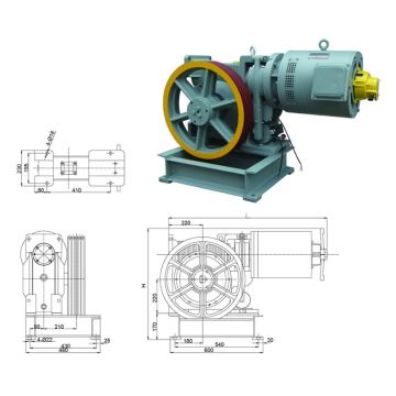 Horizontal / Vertical Installation Elevator Geared Machines