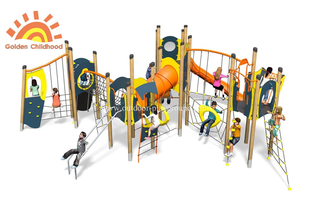Hpl Outdoor Mutiplay Structure Playground Plastic Slide For Kids
