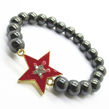 Hematite 8MM Round Beads Stretch Gemstone Bracelet with Diamante alloy star Piece