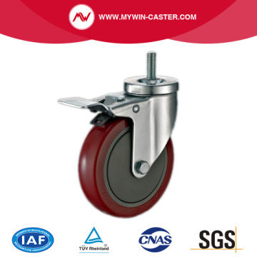 Braked Threaded Stem Swivel Red PU Medium Casters