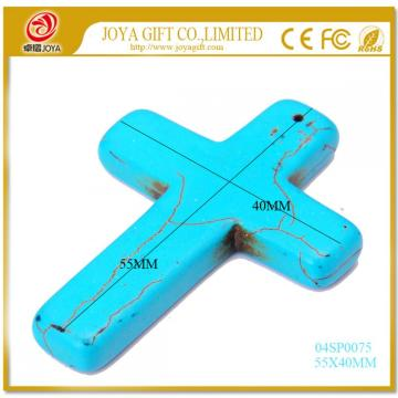 Cross Turquoise Stone Jewelry Pendant 55X40MM