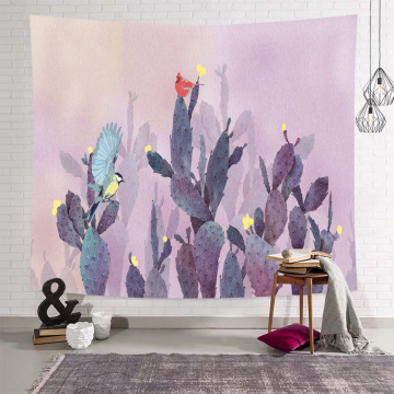 Cactus Tapestry Nature Light Purple Wall Hanging Birds Watercolor Tapestry for Livingroom Bedroom Home Dorm Decor