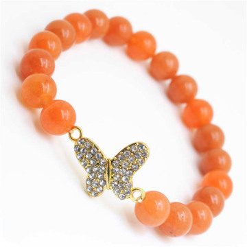 Red Aventurine Gemstone Bracelet with Diamante Butterfly alloy Piece