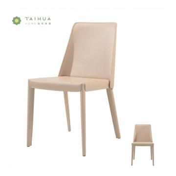 Beige PU Leather Dining Chair with Metal Frame