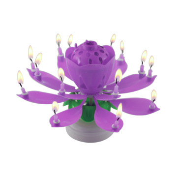 happy birthday lotus candle