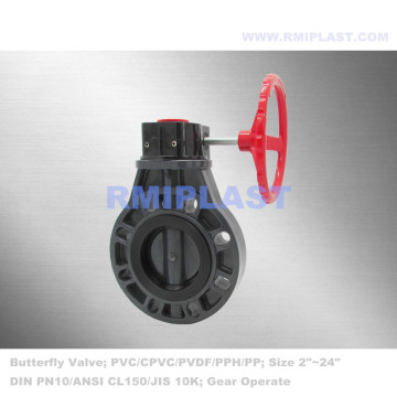UPVC Butterfly Valve PN10 Gear Type