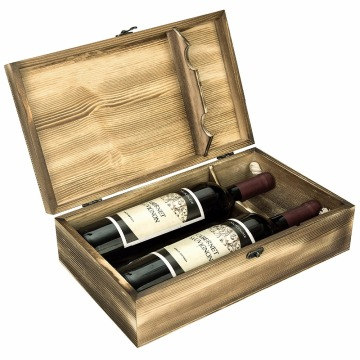 Luxury double Bottle Packaging wood wine box unfinished