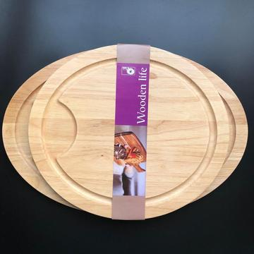 Rubber wood large cutting board with well