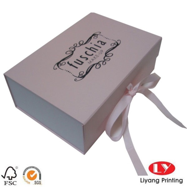 Pink hard paper gift box packaging logo printed