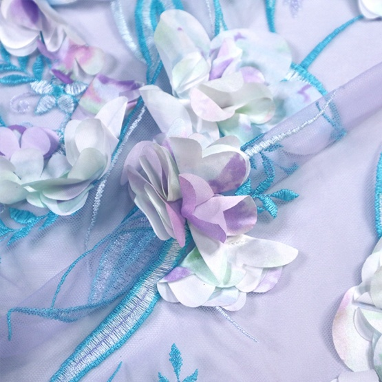 3D Blue Flower Lace Fabric Mesh Embroidery Lace