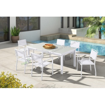 Aluminum patio furniture teslin chair and table
