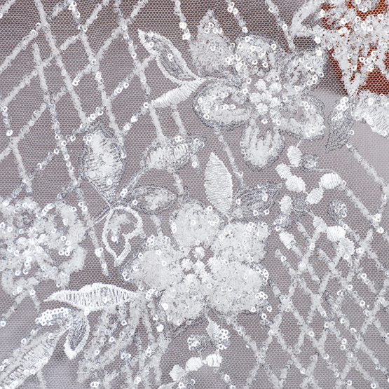 wholesale luxury white sequin embroidery fabric