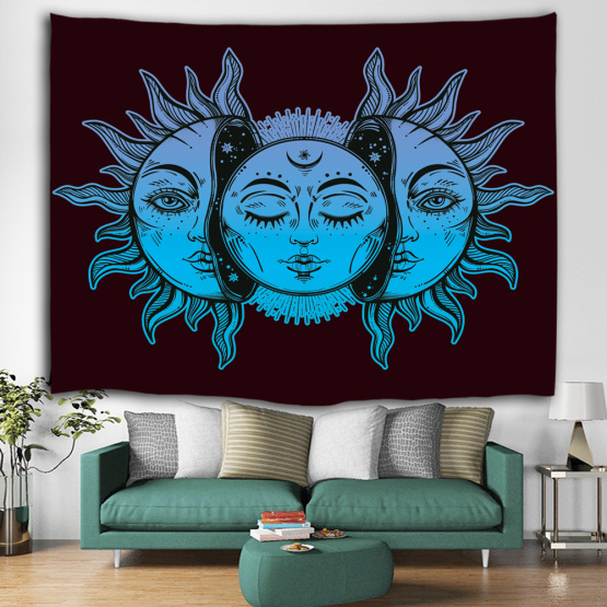 Sun and Moon Face Tapestry Mandala Wall Hanging Indian Hippie Bohemian Psychedelic Mystic Tapestry for Livingroom Bedroom Home D