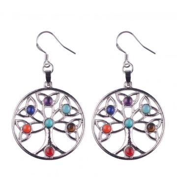Vogue Women Stainless Steel Chakra Stone Long Drop Earrings