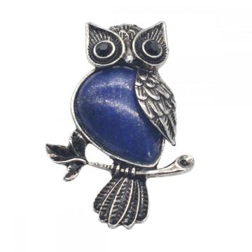 Natural Lapis Lazuli Alloy Owl Gemstone Pendant fow Women Jewelry Necklace