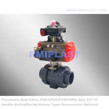 UPVC Pneumatic Ball Valve Spring Return Type