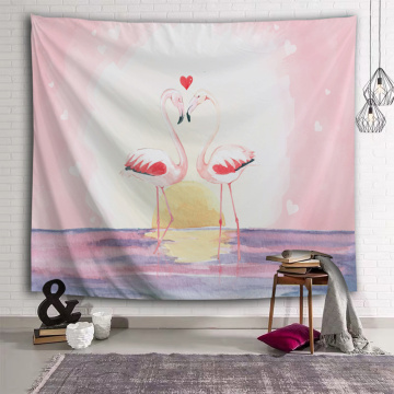 Flamingo Tapestry Pink Watercolor Wall Hanging Love Heart Tapestry for Livingroom Bedroom Home Dorm Decor