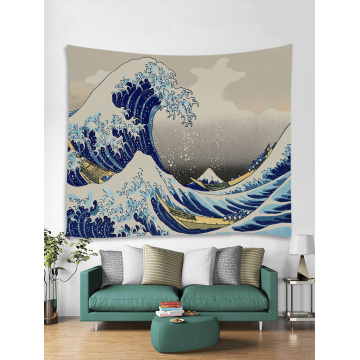 Tapestry Wall Hanging Ocean Great Sea Wave Tapestry Comic Style Blue Mount Fuji Tapestry for Bedroom Home Dorm Deco