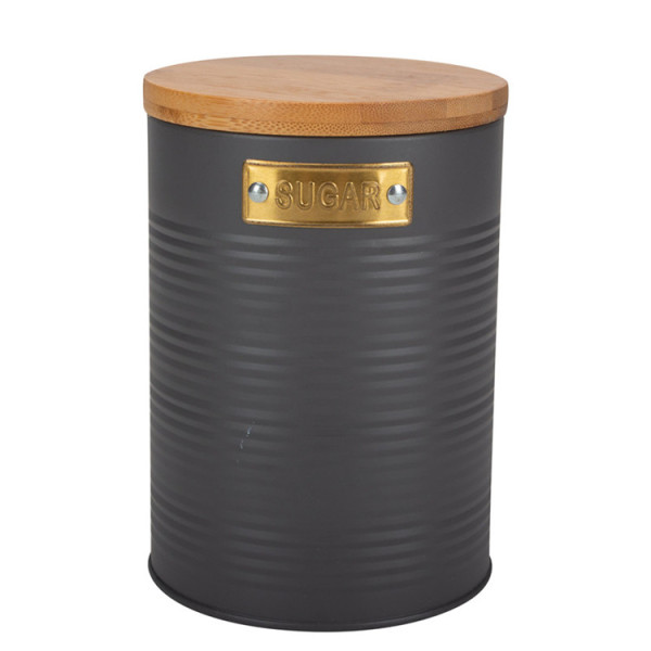Round bamboo lid canister Grey