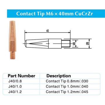 Contact Tip M6x40MM CuCrZr for Panasonic