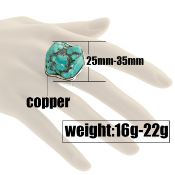 Women's Fashion Silver Zircon Raw Tumble Turquoise Ring