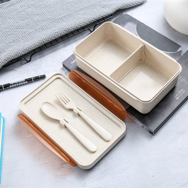 Wholesale Beige Wheat Straw Plastic Lunch Box Cutlery