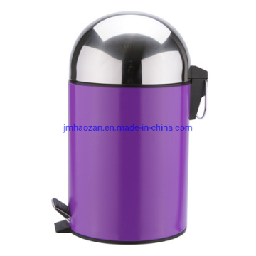 Half Round Lid Stainless Steel Pedal Trashcan, Dustbin