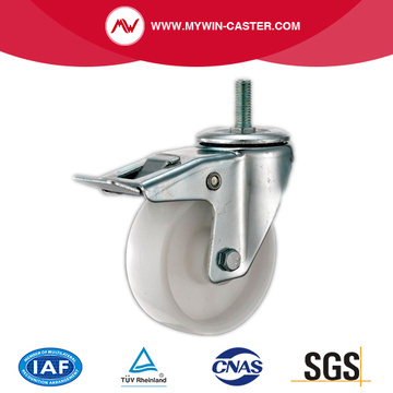Thread Stem PP Industrial Caster With Brake
