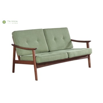 Light Green Sofa 2 Seater Solid Wood Frame