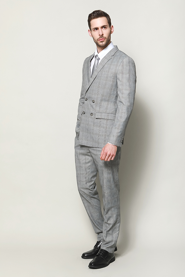 MEN'S LIGHT GREY FAINT CHECK JACEKT AND TROUSER