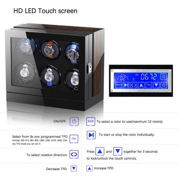 Six Rotations Watch Winder Box With LED Light