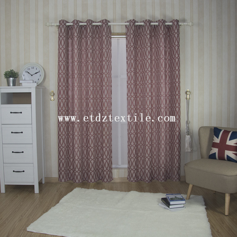 6008 Red Color High Grade Typical Linen Like Jacquard Curtain