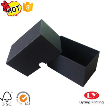 Black cardboard box with lid jewelry packaging