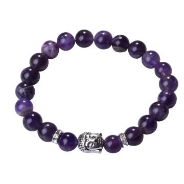 Natural Amethyst 8MM Gemstone Buddhism Prayer Beads Bracelet Buddha Jewelry