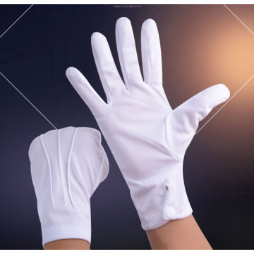 White Parade Gloves Funeral Cotton
